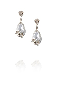 Rose gold finish teardrop earrings by TI Couture By Tania M Kathuria