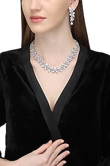 Silver Plated American Diamond Necklace Set