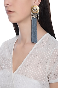 Rose gold plated grey fish tassel earrings