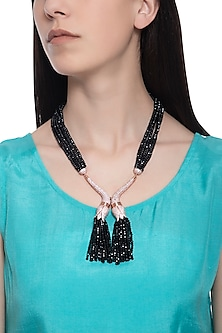 Rose gold plated black beaded and crystal necklace by TI Couture By Tania M Kathuria
