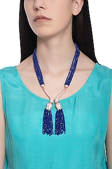Rose gold plated blue beaded and crystal necklace