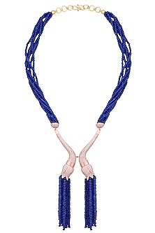 Rose gold plated blue beaded and crystal necklace by TI Couture By Tania M Kathuria