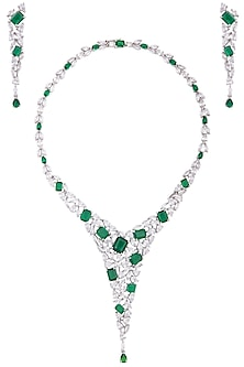 Silver plated diamond and emerald necklace set by TI Couture By Tania M Kathuria
