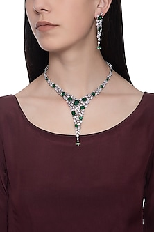 Silver plated diamond and emerald necklace set