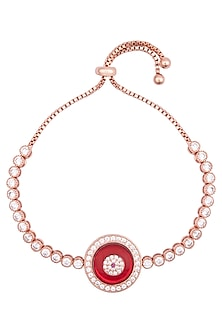 Rose gold plated crystal red bracelet by TI Couture By Tania M Kathuria