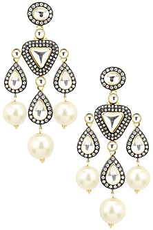 Gold Finish Polki and Pearl Earrings by TI Couture By Tania M Kathuria