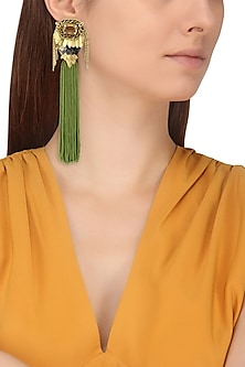 Rose Gold Finish Sea Green Tassel Embellished Earrings by TI Couture By Tania M Kathuria