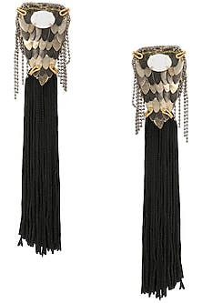 Rose Gold Finish Black Tassel Embellished Earrings by TI Couture By Tania M Kathuria