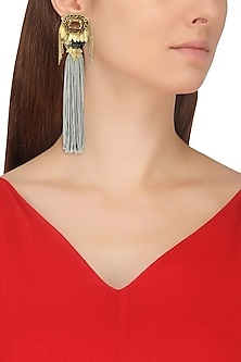 Rose Gold Finish Grey Tassel Embellished Earrings