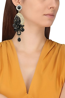 Gold Finish Crystal and Black Semi Precious Stones Abstract Earrings