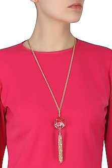 Gold Finish Crystal and Tassel Embellished Neckpiece