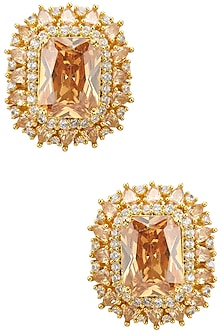 Gold Finish Yellow Sapphire and Diamonds Stud Earrings by TI Couture By Tania M Kathuria