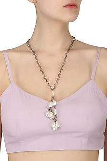 Antique Silver Finish Diamonds and Pearl Neckpiece