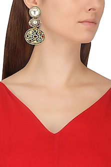 Rose Gold Finish Red Polki and Multi-Colour Stone Earrings by TI Couture By Tania M Kathuria