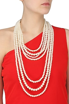 Multi-Layered Shell Pearls Statement Neckpiece