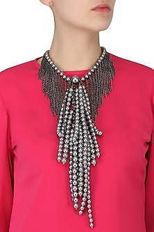 Multi-Strand Pearls and Metal Chain Statement Neckpiece