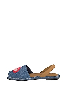 Blue Embroidered Denim Flats by TEAL BY VRINDA GUPTA