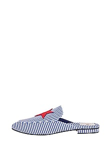 Blue Embroidered Striped Flats by TEAL BY VRINDA GUPTA
