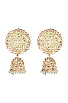 Gold Finish Shell Pearls & Kundan Mint Green Meenakari Earrings by Tanzila Rab