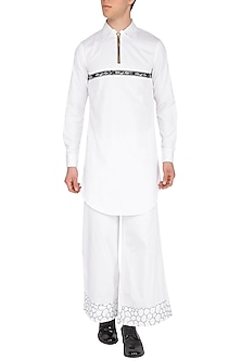 White Upright Collared Kurta by The Natty Garb