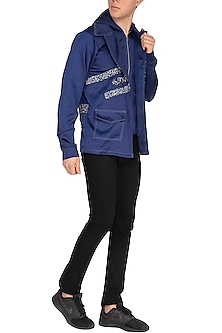 Blue Embroidered Double Collared Jacket by The Natty Garb