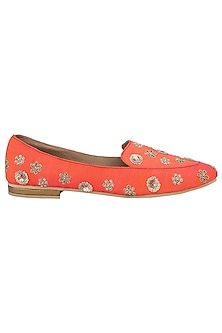 Orange Embellished Loafers by TEAL BY VRINDA GUPTA