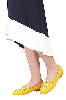 Yellow Pearl Embellished Loafers
