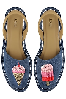Blue Rose Embellished Denim Sandals by TEAL BY VRINDA GUPTA