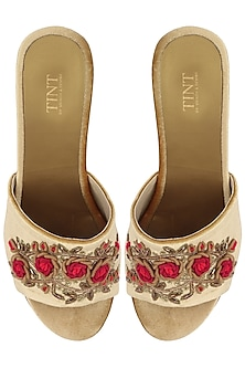 Beige Embroidered Wedge Sandals by TEAL BY VRINDA GUPTA