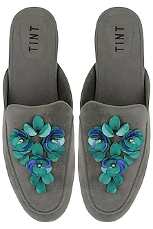 Grey Floral Embellished Mules by TEAL BY VRINDA GUPTA