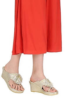 Gold Tassel Embellished Kohlapuri Wedge Heels by TEAL BY VRINDA GUPTA