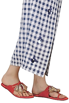 Red Tassel Embellished Kohlapuri Sandals