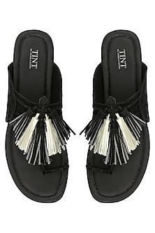 Black Tassel Embellished Kohlapuri Sandals by TEAL BY VRINDA GUPTA