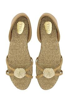 Beige Flower Embellished Strappy Sandals by TEAL BY VRINDA GUPTA