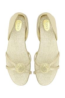 Gold Flower Embellished Strappy Sandals by TEAL BY VRINDA GUPTA