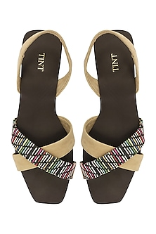Beige And Multi-Colour Strappy Sandals by TEAL BY VRINDA GUPTA
