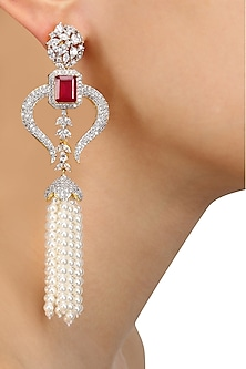Rhodium and Gold Dual Finish White Sapphire and Ruby Tassle Earrings