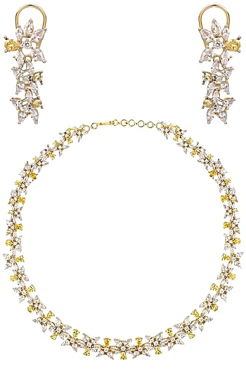 Gold and Silver Finish Sapphire Necklace Set by Tanzila Rab