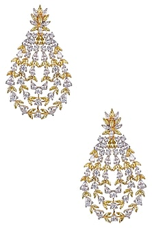 Gold Finish White and Yellow Sapphire Cocktail Earrings by Tanzila Rab