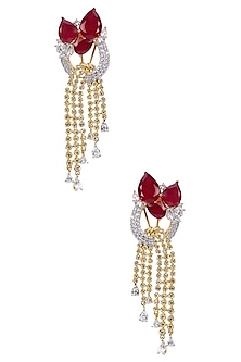 Gold Finish Ruby and White Sapphire Bow Earrings by Tanzila Rab