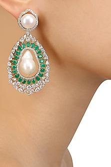 Dual Finish White Sapphire, Emerald and Barouque Pearl Earrings by Tanzila Rab