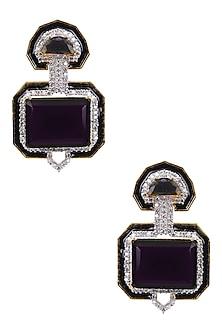 Rhodium Finish Black Enamel Art Deco Earrings by Tanzila Rab