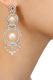 Dual Polish White Sapphire and Pearls Earrings by Tanzila Rab