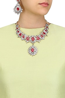 Rhodium Finish Ruby and White Sapphire Filigree Necklace Set