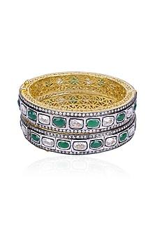 Set of Rhodium Finish Emerald and White Sapphire Bangles by Tanzila Rab