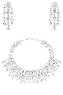 White Finish Sapphire Adjustable Necklace Set by Tanzila Rab