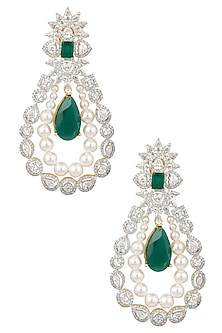 White and Gold Dual Finish Emerald and White Sapphire Earrings by Tanzila Rab