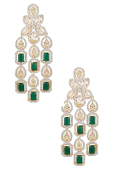 White and Gold Dual Finish Emerald and Sapphires Earrings by Tanzila Rab