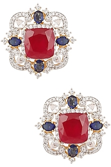 Gold Finish Ruby, Blue and White Sapphire Ear Studs by Tanzila Rab