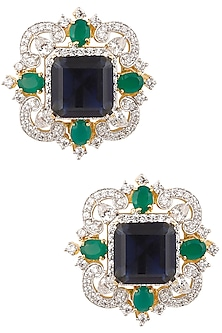 Gold Finish Emerald, Blue and White Sapphire Ear Studs by Tanzila Rab